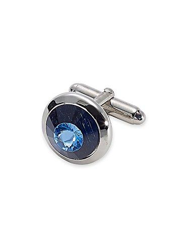 Paul Fredrick Men's Swarovski Crystal Round Cufflinks Blue 000
