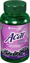 Vitamin World Acai 1000 mg 120 Rapid Release Softgels Antioxidant Flavonoids