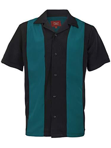 Maximos Men's Retro Charlie Sheen Two Tone Guayabera Bowling Casual Dress -