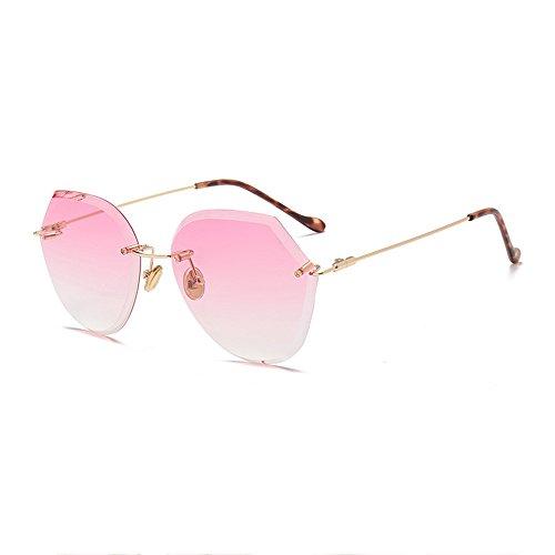 Gafas Femeninas Pink Océano De Gran Las Europa Estados Caja Blue Sol Sol Unidos Cristalino Sin Gradiente De Corte Películas Y Marco Gafas De De gaqqz0