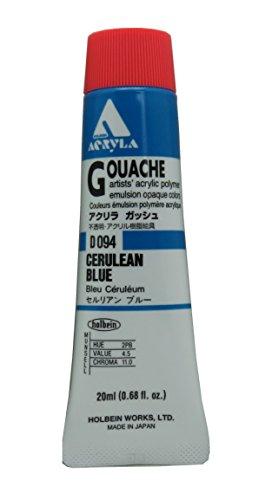 Holbein Acryla Gouache Artists Acrylic Polymer Emulsion, 20ml Cerulean Blue (D094)