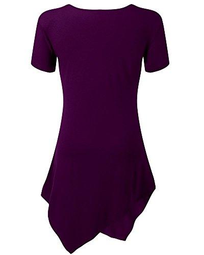 Moollyfox Mujeres Ocasionales Con Cuello En V Manga Corta Camiseta Larga Violet