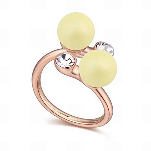 HOX Swarovski Elements Ring - Edge with This Open Ring Female Jewelry Alloy Swarovski Pearls Alloy Plated with Real White Gold, Pastel yellow ()