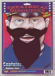 Captain's Fake Moustache & (Halloween Makeup Over Beard)