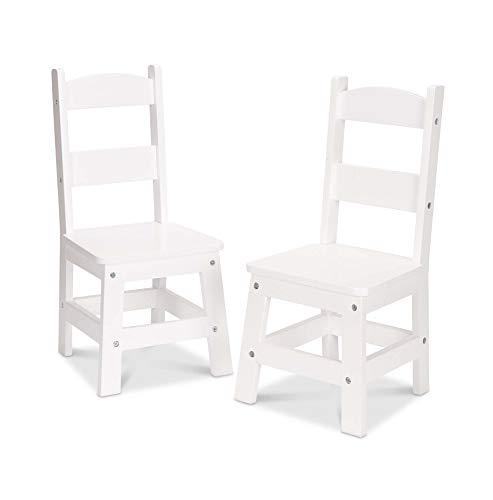 Melissa & Doug Wooden Chair Pair - White Children's Furniture (Small Wooden Table White)