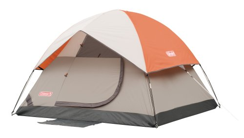 Coleman Sundome 7 Foot By 7 Foot 3 Person Dome Tent Orange Gray