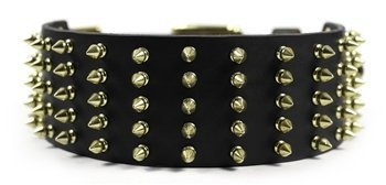 """Dean & Tyler """"Wide Spike Black Extra Wide Dog Collar with Brass Spikes and Buckle, Size 38-Inch by 2-3/4-Inch, Fits Neck 36-Inch to 40-Inch"""