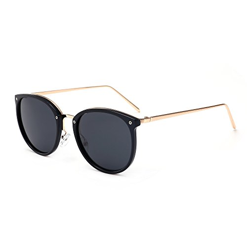 SUNGAIT Women's Vintage Polarized Sunglasses Retro Round Sun Glasses (Black Frame (Glossy Finish) /Gray Lens, - Sunglass Round Face