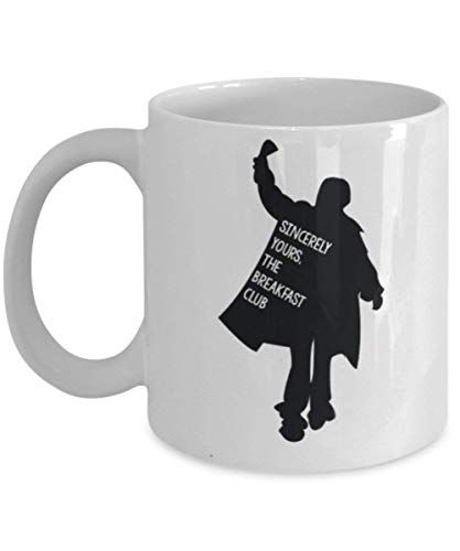 Sincerely Yours, The Breakfast Club Coffee Mug Cup (White) 11oz Funny The Breakfast Club Movie Gift Merch Accessories Paraphernalia Fan Gear ()