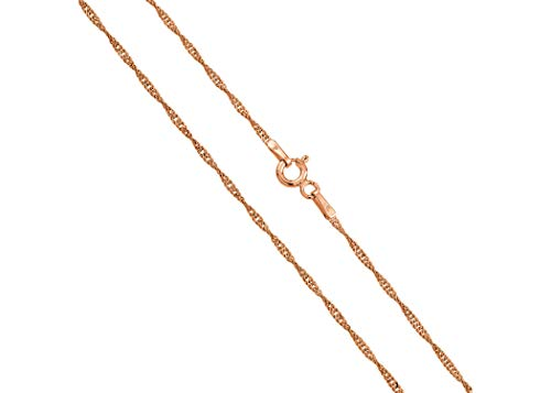 14K Gold 1.8MM Singapore Chain Necklace- Yellow, White Rose or 3 tone -14