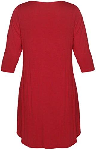 New Womens Plus Size Uneven Dip Hem Long Tunic Tops, Red, EU 54-56
