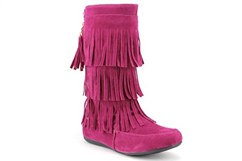 Ositos Kids Girls BDW16-K Tall Suede Fringe Moccasin Boots, Fuchsia, 11