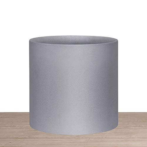 Indoor 10 Inches Round Modern Planter Pot - Grey - Easy Grow Fiberglass Resin Planter with Drainage Hole and Plug - by D'vine Dev