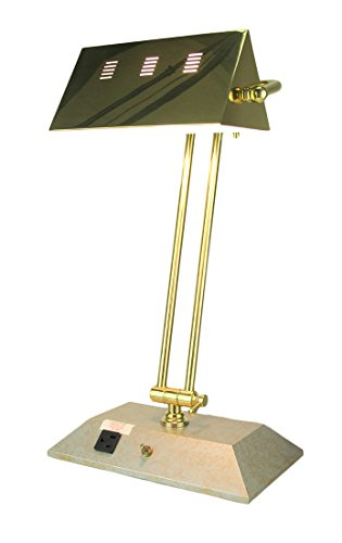 Bankers Contemporary Lamp (Brass Color Contemporary Bankers Lamp With Power Outlet)
