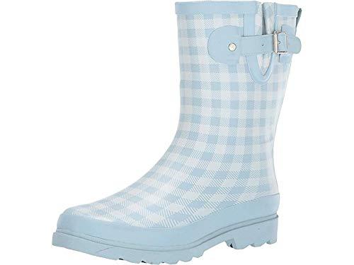 (Western Chief Womens' Waterproof Printed Mid Height Rain Boot, Grunge Gingham, 8 M US)