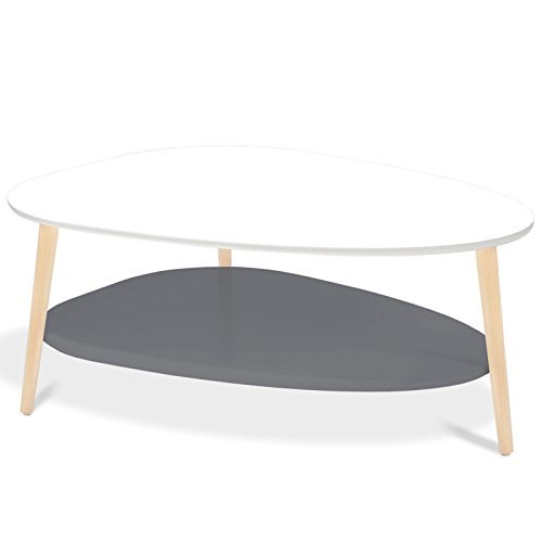 Idmarket Table Basse Gigogne Elsie Blanc Et Gris Amazon Fr