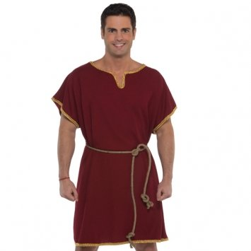 Amscan Spartan Tunic Halloween Costume Accessory for Men, Burgundy, One Size ()