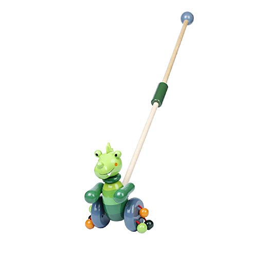 RUYU Perky Crocodile Wooden Push-n-Pull Activity Walking Toy with Colorful Rolling Beads for Toddlers and Babies Girl or Boy, Indoor & Outdoor Activity for Kids (❤Crocodile❤)