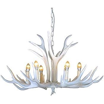 Shengdi deer horn 6 light iron resin industrial retro droplight effortinc vintage style resin white antler chandelier 6 lightsliving roombarcafe mozeypictures Image collections