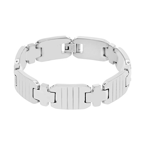 Creed Men's Silver-Tone Stainless Steel Cross And Ribbed Links Bracelet