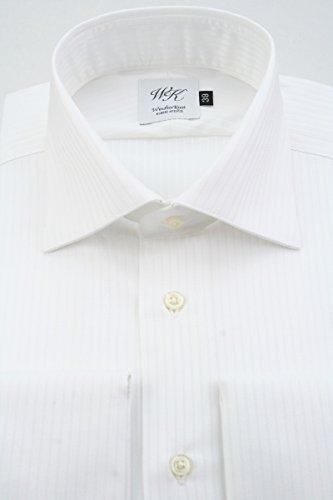 業界満員滞在(ウィンザーノット アルバートアベニュー) Windsorknot Albert Avenue ダブルカフスのワイドカラーシャツ 長袖 白無地、ドビーストライプ 日本製 綿100% 80双糸 easy iron (細身) ドレスシャツ wd4469
