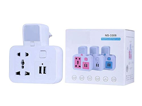 Dual USB Charger with Universal 2 Pin  amp;3 PIN Socket Worldwide Adapter, Pin Plug Multiplug with Night lamp