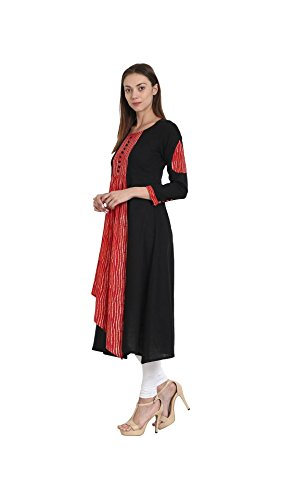 Slub amp; Kurta Cotton Anarkali 4 3 Red DreamAngel Sleeve Black n01xzq5zwv