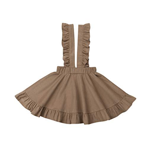 Specialcal Baby Girls Velvet Suspender Skirt Infant Toddler Ruffled Casual Strap Sundress Summer Outfit Clothes (5-6T, Light Coffee(Velvet))