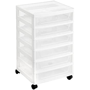 IRIS 6 Drawer Scrapbook Cart With Organizer Top, White