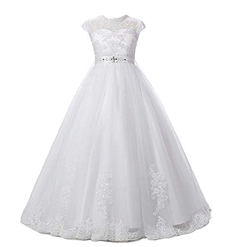 Tulle Lace Flower Girl Dress White, First Communion Dress for Girls Princess Wedding Pageant Dresses, Girls Ball Gown Floor-Length with Back Hole -