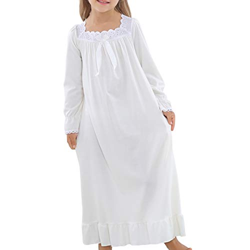 F.G.Y Princess Nightgowns for Girls, Soft Cotton Long Sleeve Sleepwear for Kids 3-12 Years (6-7Years/Size 120#) -