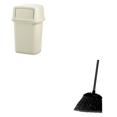 KITRCP637400BLARCP917188BG - Value Kit - Beige Ranger Two Door Trash Receptacle, 45 Gallon (RCP917188BG) and Rubbermaid-Black Brute Angled Lobby Broom (RCP637400BLA) by Rubbermaid