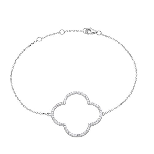 Designer Style Cubic Zirconia Bracelet (Sterling Silver Open Four Leaf Clover Cubic Zirconia Bracelet With Adjustable Length. (Natural Silver))