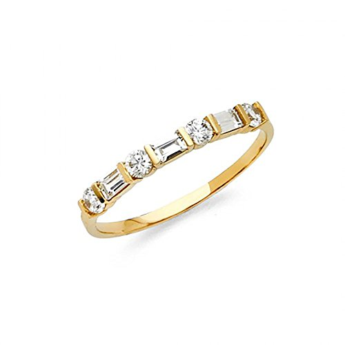 14k Yellow Gold Channel Set Baguette & Round CZ Womens Wedding Band Ring