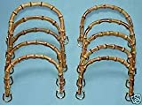 20 Pcs Bamboo Semi Circle Bamboo Purse Handles 18x12cm with golden Metal Ring