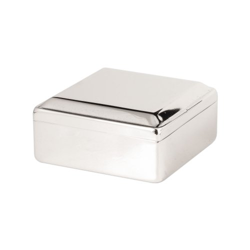 Square Box Lift Top, Silver Plated. by