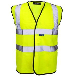 Guilty Gadgets ® - Yellow Hi Vis High Viz Visibility Vest Waistcoat Jacket Safety En471 Standard Work Size S Small Guilty Gadgets ® Hi-Viz Safety Vest Small