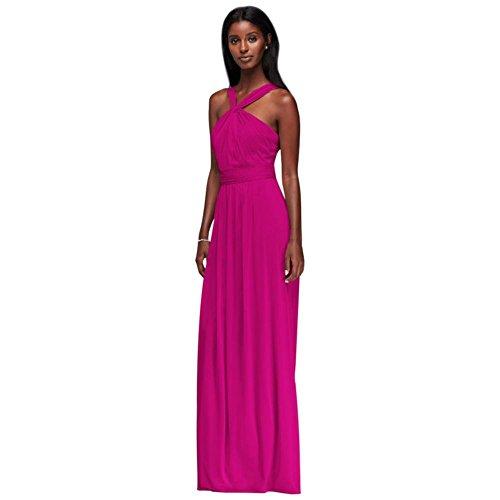 David's Bridal Y-Neck Long Mesh Bridesmaid Dress Style W11173, Begonia, 22 (Begonia Dresses)