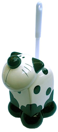 Ceramic Black & White Kitty Cat Themed Toilet Bowl Cleaning Brush Decorative (Cat Bowl Brush)