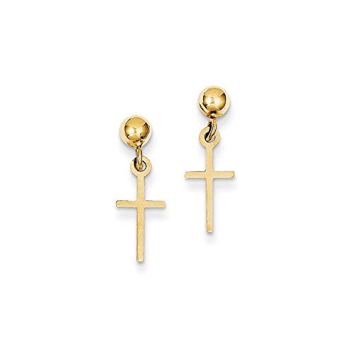 Cross Dangle Post Earrings - 1