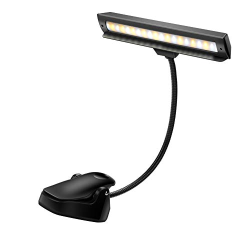Cheap Rechargeable Music Stand Light, 19 LEDs Clip On Reading Light – 3 Level Brightness Settings, Color Temperature Optional (Warm/Cool White/Natural Light Color), Perfect for Piano, Reading, Sewing