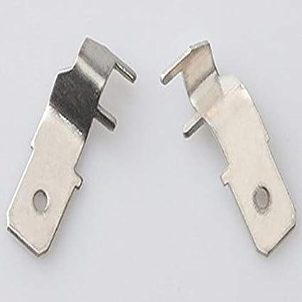 Davitu Terminals Color: 50pcs Brass tin 6.3mm circuit board insert welding insert 6.3 flag insert copper tin thickness 0.8mm