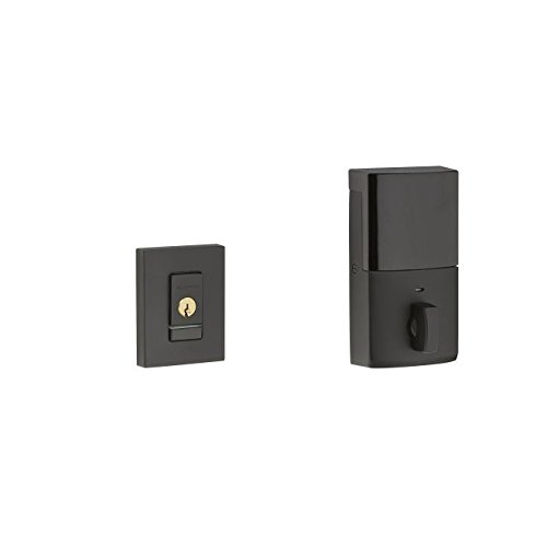 Baldwin 8220.190.B Evolved Contemporary Single Cylinder Deadbolt with Bluetooth Tech, Flat Black