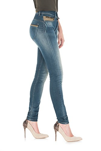 SALSA Pantalones Push In Secret Skinny con napa Azul