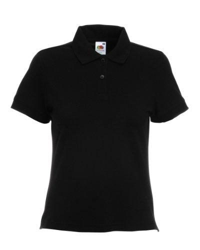 Fruit Of The Loom - Damen Poloshirt (S-XXL) 9 Farben - Schwarz, Large - Brust 91cm - EU 42