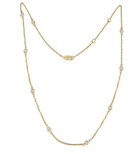 1/2ct Bezel Set Diamond By The Yard 14k Yellow Gold Station Necklace (Gold 17 Jewel)