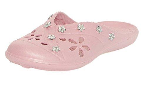 CLEOSTYLE modernas Mujer Zapatillas de baño Zapatos de playa Zuecos Mulas con modernos Piedras decorativas de actual Colección 2017 CL 78 Rosa