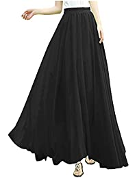 Women Full/ankle Length Elastic Pleated Retro Maxi...