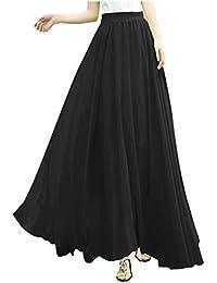 21002882f6d8e Women Full Ankle Length Elastic Pleated Retro Maxi Chiffon Long Skirt