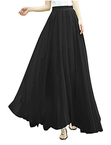 V28Women Full/Ankle Length Elastic Pleated Retro Maxi Chiffon Long Skirt (M, Black)